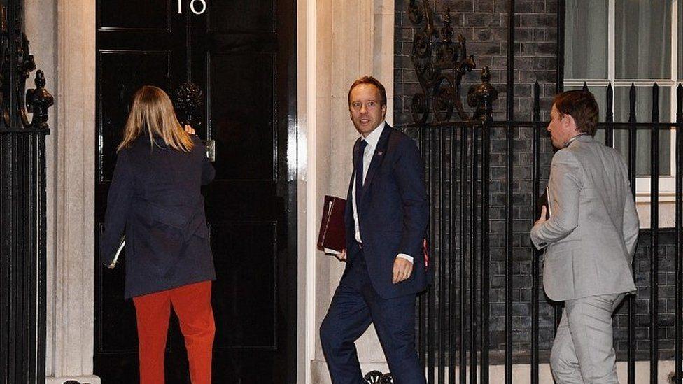 Health Secretary Matt Hancock entering Downing Street