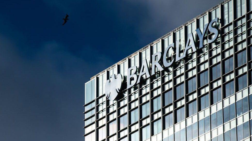 Barclays logo on Canary Wharf office