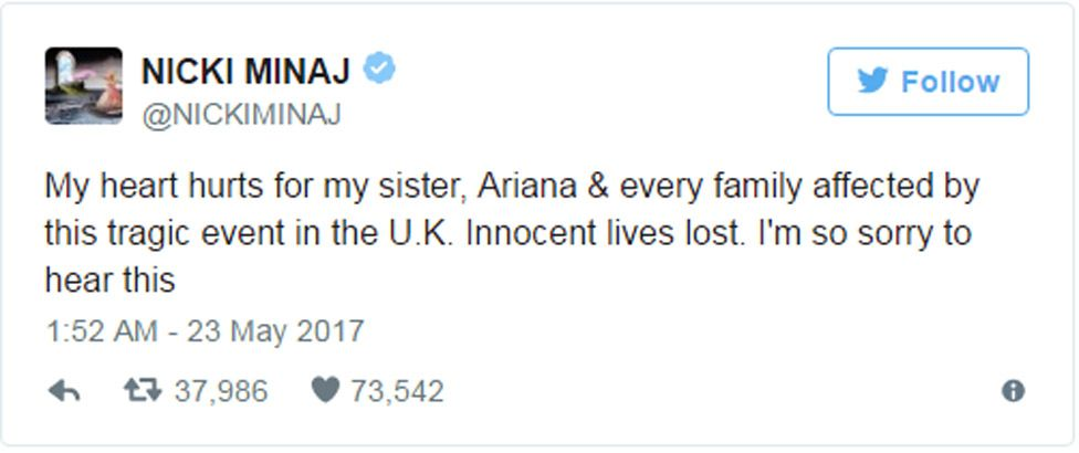 """Nicki Minaj tweet: """"My heart hurts for my sister, Ariana & every family affected by this tragic event in the U.K. Innocent lives lost. I'm so sorry to hear this"""""""