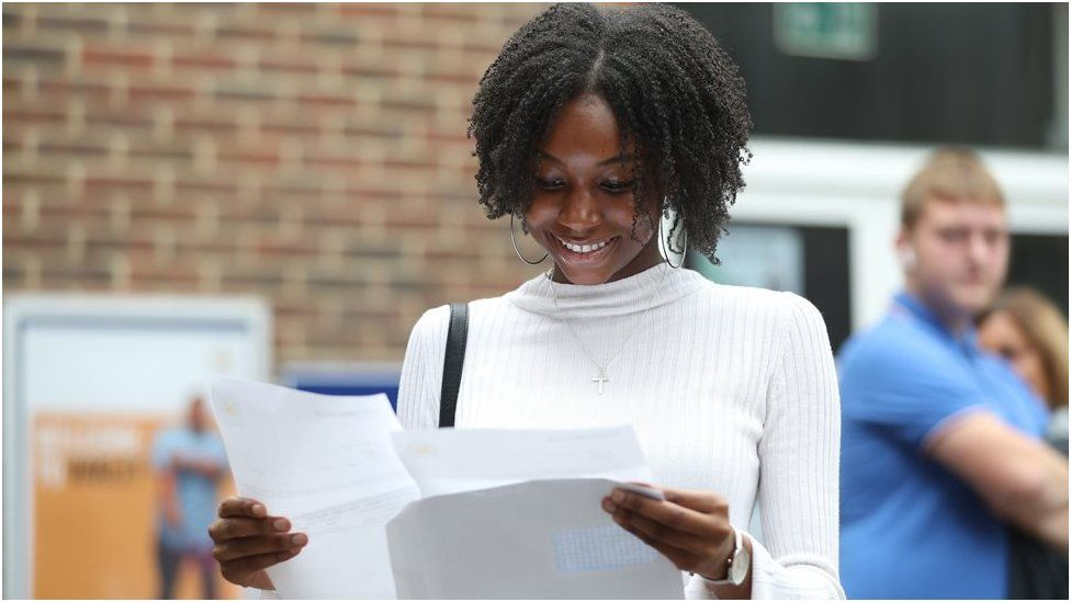 Gabrielle Joseph at Peter Symonds College, Winchester, receives her A-Level results.