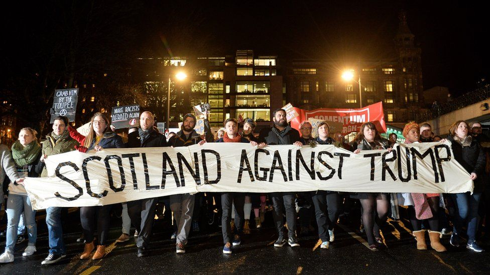 A protester at the Trump travel ban demo in Scotland