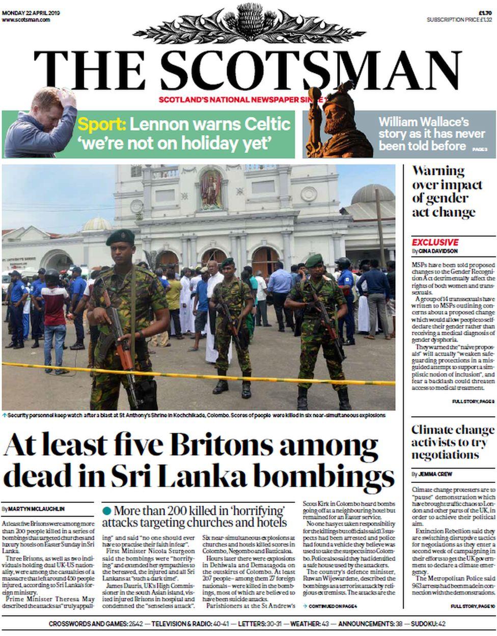 Scotland's papers: Bombings bring terror to Sri Lanka - BBC News