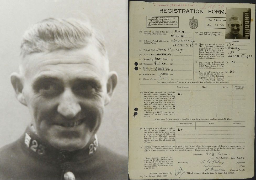 Policeman William Quin's ID registration form