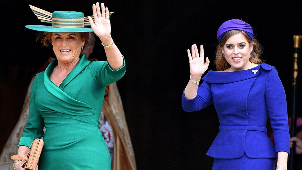 Sarah Ferguson, Duchess of York and Princess Beatrice attend the wedding of Princess Eugenie of York and Jack Brooksbank at St George's Chapel on October 12, 2018 in Windsor