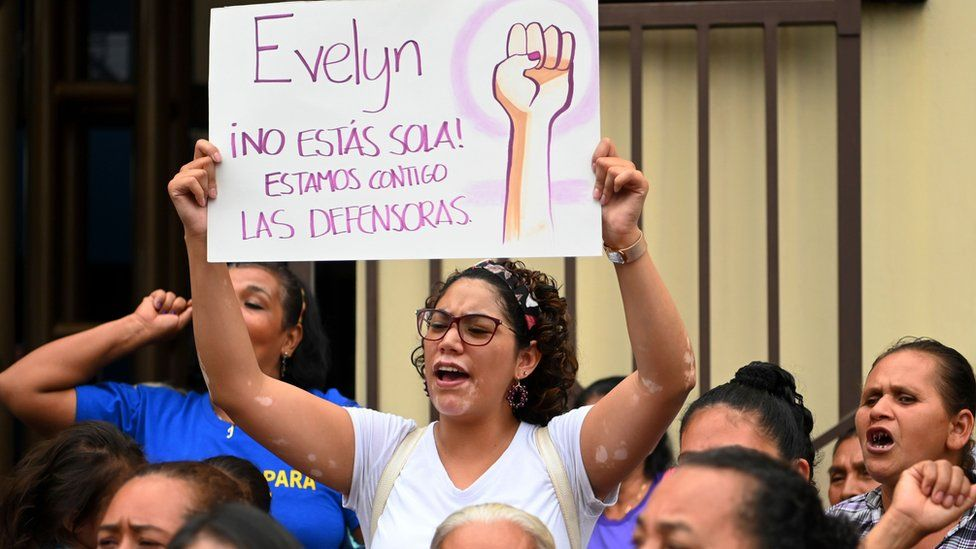 Activists demanding freedom, justice and redress for Salvadorean rape victim Evelyn Hernandez hold protest