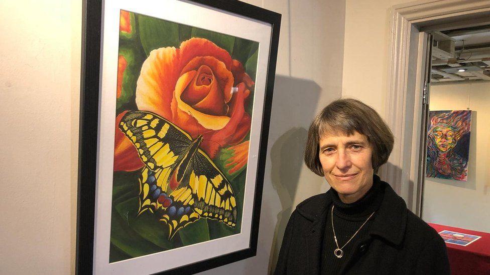 Larry Swearingen painting and Susan van de Ven