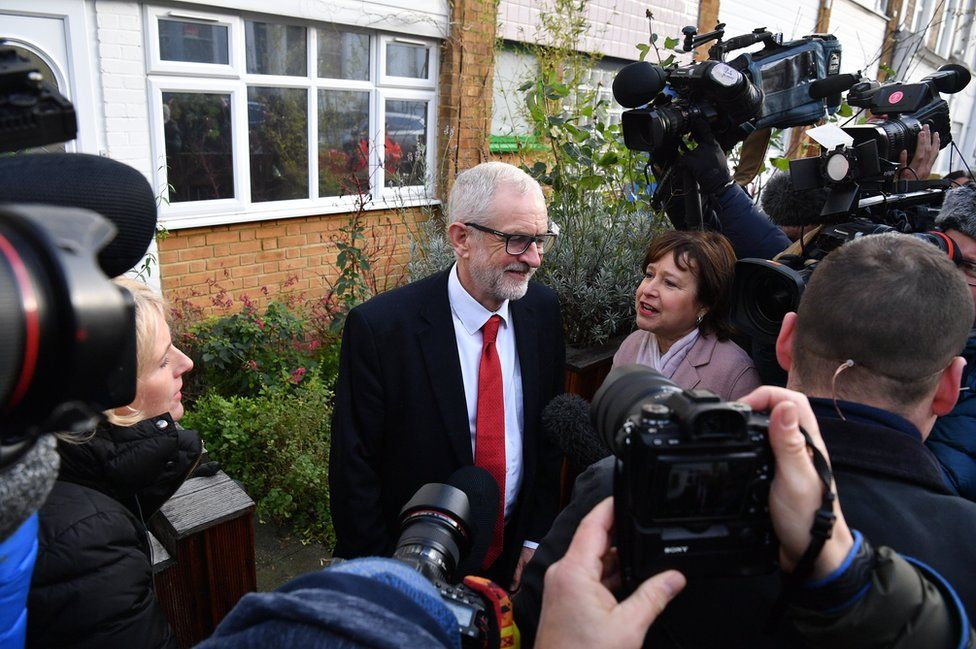 Labour Party leader Jeremy Corbyn leaves his home