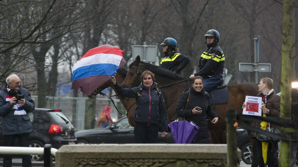 Right-wing demonstration against Mr Cavusoglu's visit in The Hague - 8 March