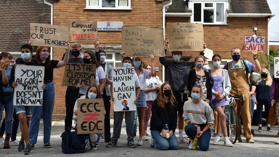 Students marched from Codsall Community School in Staffordshire to the Education Secretary's constituency office to protest against moderated grades