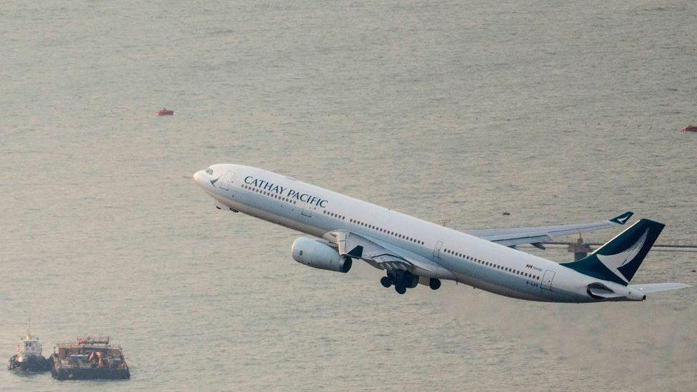 Cathay Pacific flight taking off in Hong Kong.