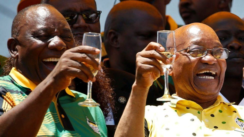"""African National Congress (ANC) President Cyril Ramaphosa (L) celebrates the Congress"""" 106th anniversary celebrations with Kenyan President Uhuru Kenyatta (R) and president of South Africa Jacob Zuma, in East London, South Africa, January 13, 2018."""
