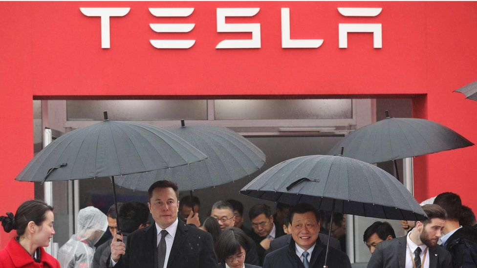 Elon Musk at the ground breaking of the Tesla gigafactory in Shanghai