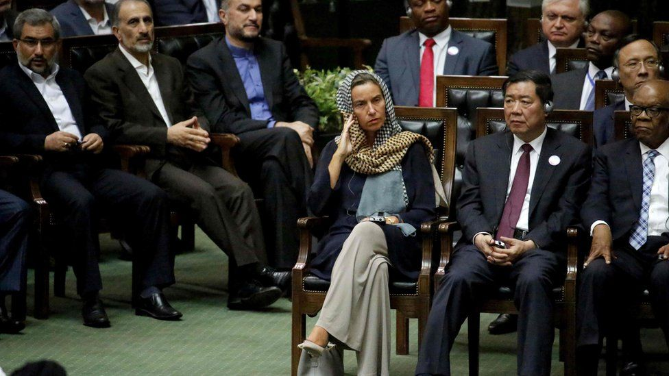 EU foreign policy chief Federica Mogherini (C) was among guests at the inauguration