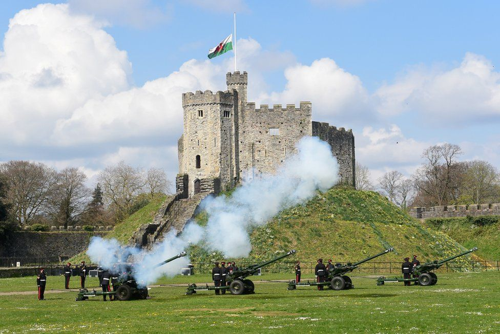View of the first shot during a gun salute to mark the death of Prince Philip, husband of Queen Elizabeth, at Cardiff Castle, in Cardiff, Wales, Britain April 10, 2021.