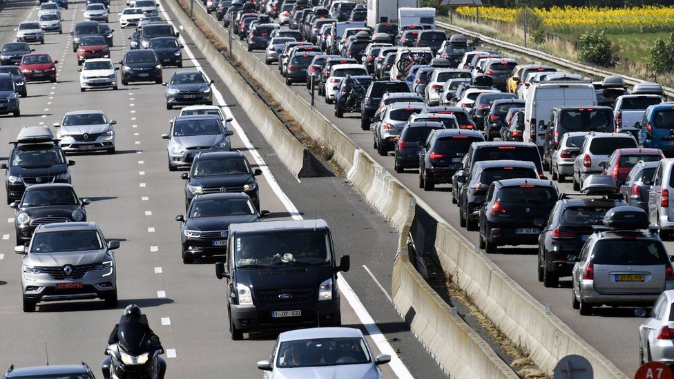 Motorists drive in France