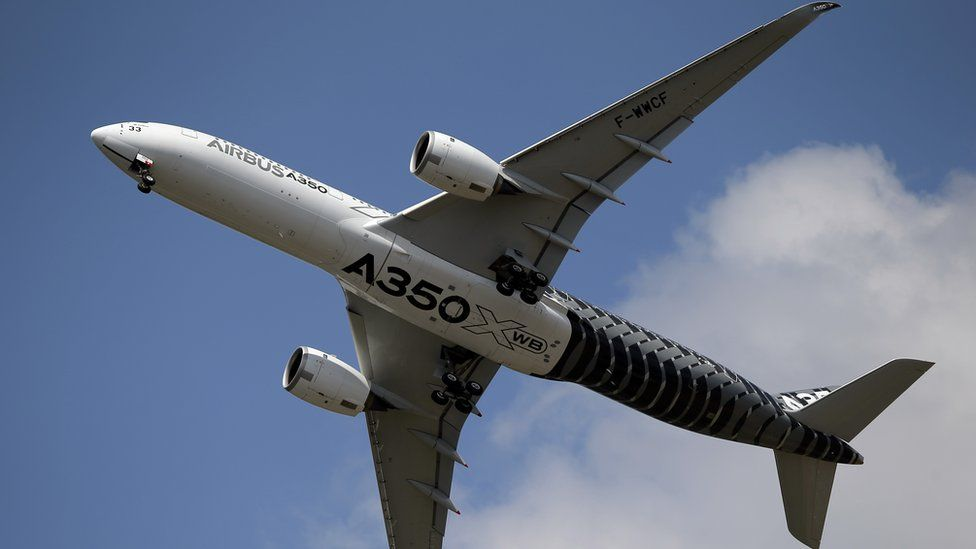 An Airbus A350 in flight