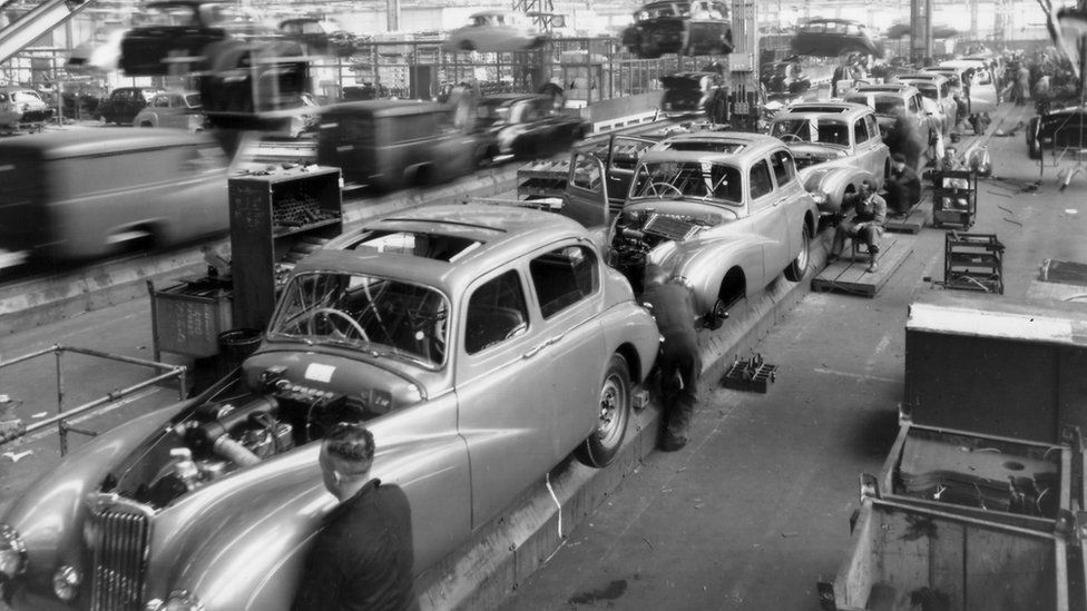 The Sunbeam Talbot 90 in production at Ryton, near Coventry, in 1950
