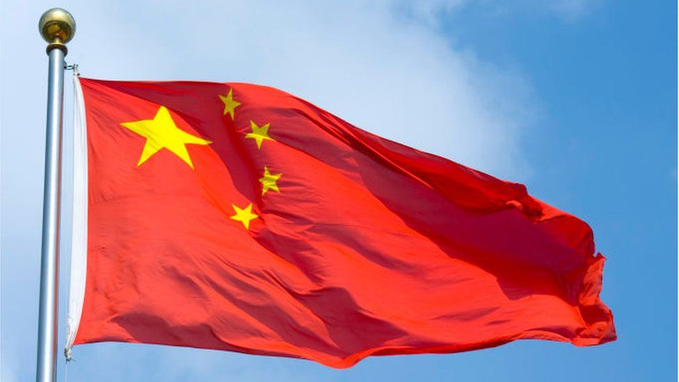 Closeup of the Chinese flag