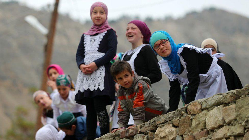 Children at a school in rural Dagestan
