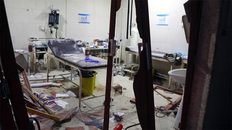 Hospital room damaged in a reported air strike in the town of Ariha, Idlib province (30 January 2020)