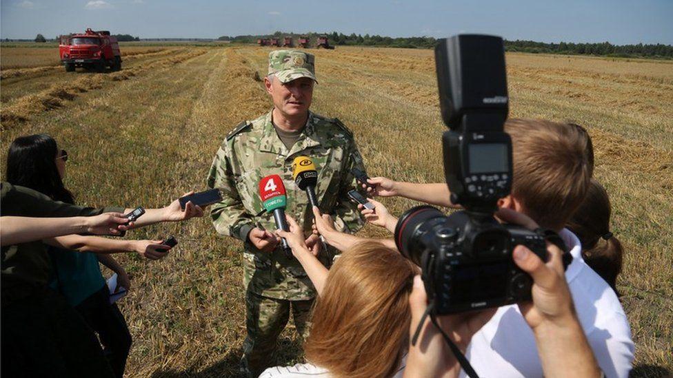 Belarusian Interior Minister Ihar Shunievich at the Khutor-Agro farm, August 2017
