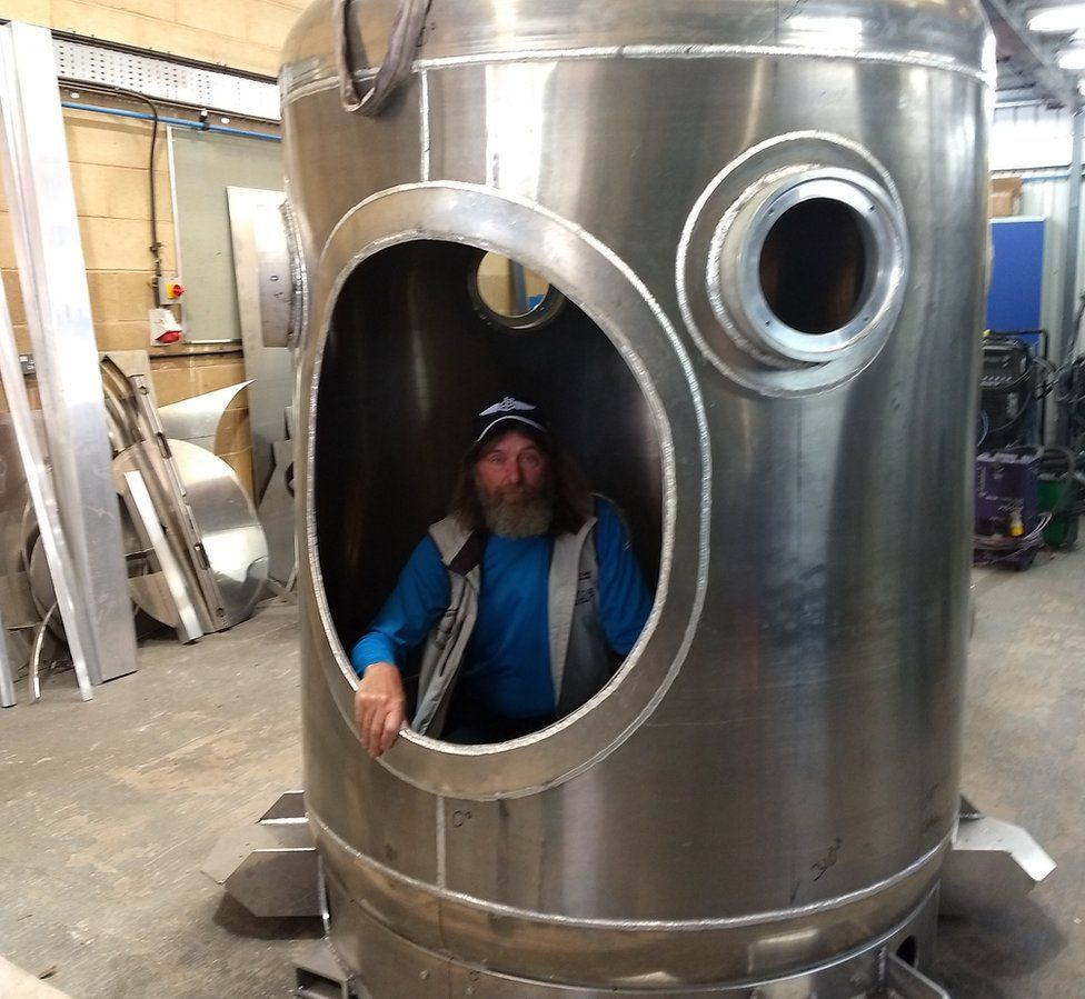 Fedor Konyukhov in capsule at Cameron Balloons factory in Bristol