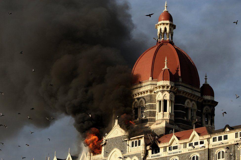 Fire at the Taj Mahal Palace Hotel during the terrorist attacks on Mumbai