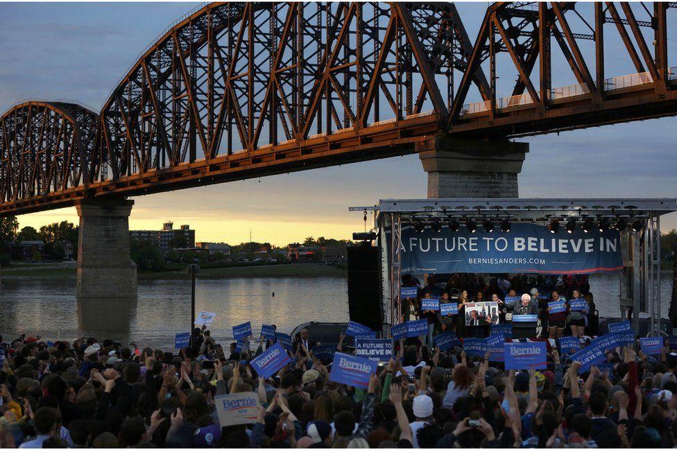Sanders held a rally in Kentucky