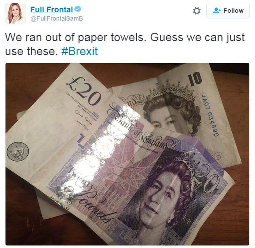 """We ran out of paper towels. Guess we can just use these"" £20 notes"