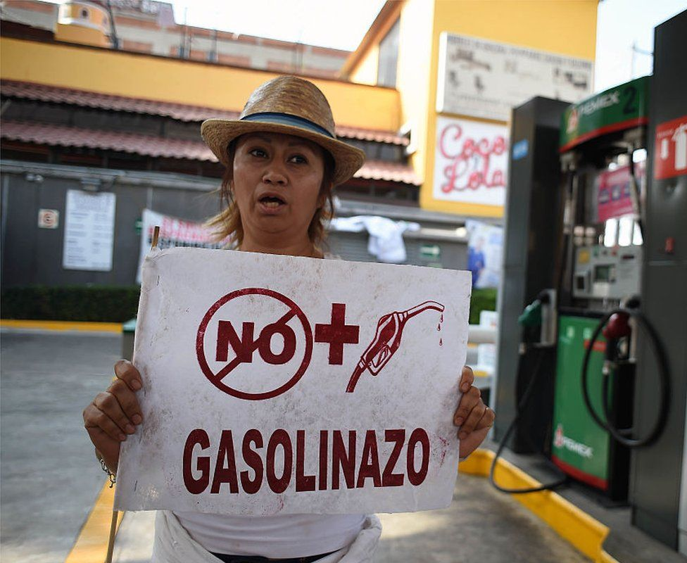 A protestor complains about fuel price rises in Mexico city