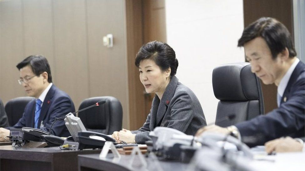 South Korean President Park Geun-hye (C) presides over the National Security Council at the Presidential Blue House in Seoul, South Korea, in this handout picture provided by the Presidential Blue House and released by Yonhap on January 6, 2016.