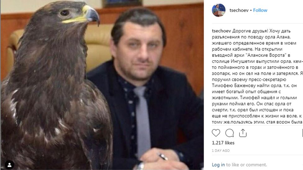 Mayor Beslan Tsechoyev of Magas, with an eagle saved in a city park, Russia.