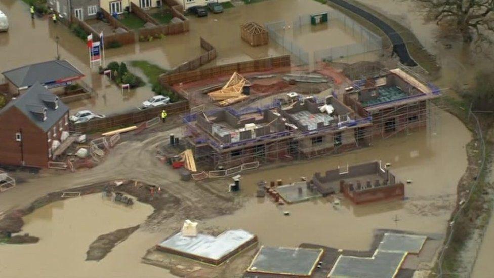 Aerial shot of Glasdir flooding in Ruthin in November 2012