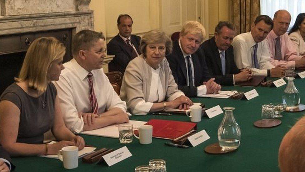 Theresa May with Boris Johnson at a cabinet meeting