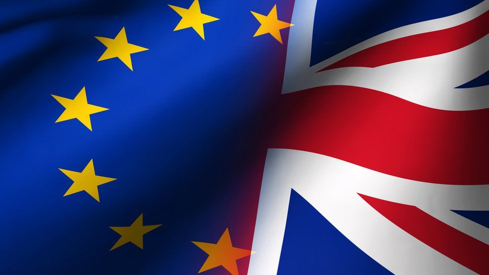 Union Jack And European Union Flag Brexit Concept