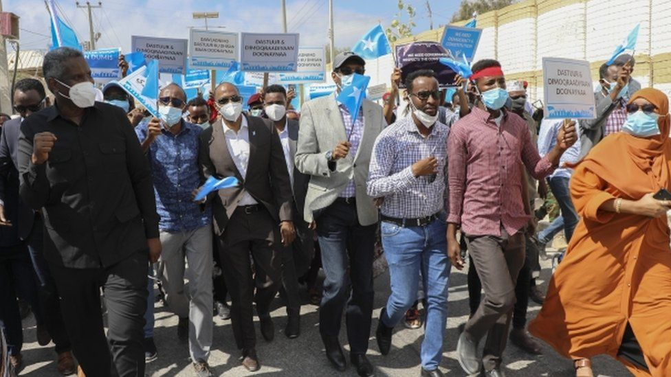 The opposition protesters in Mogadishu, Somalia - 19 February 2021
