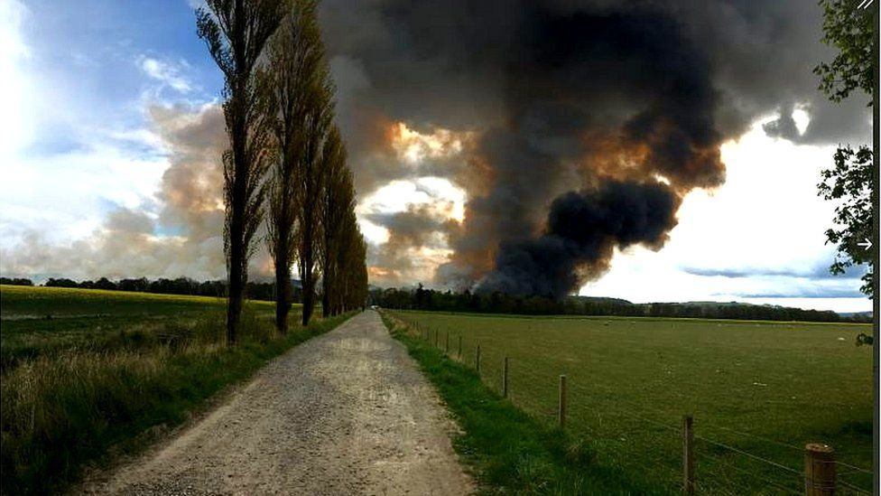 Reed bed fire