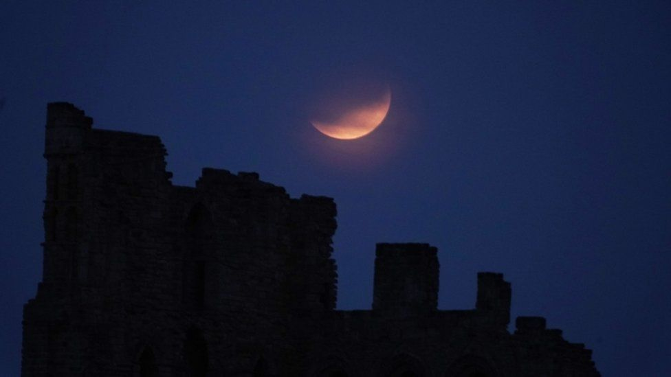 Partial lunar eclipse on 16 July 2019, from Tynemouth Priory