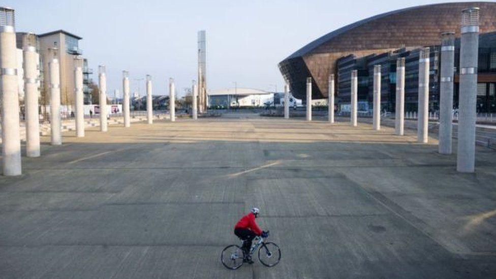 Man on bike in Cardiff