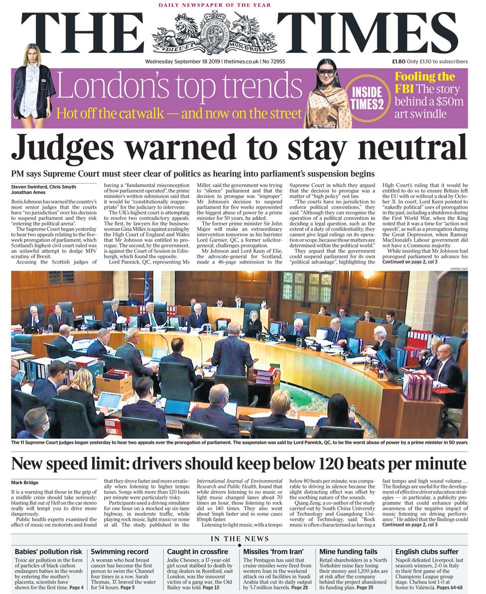 Newspaper headlines: PM's 'warning' to judges and diabetes 'epidemic'