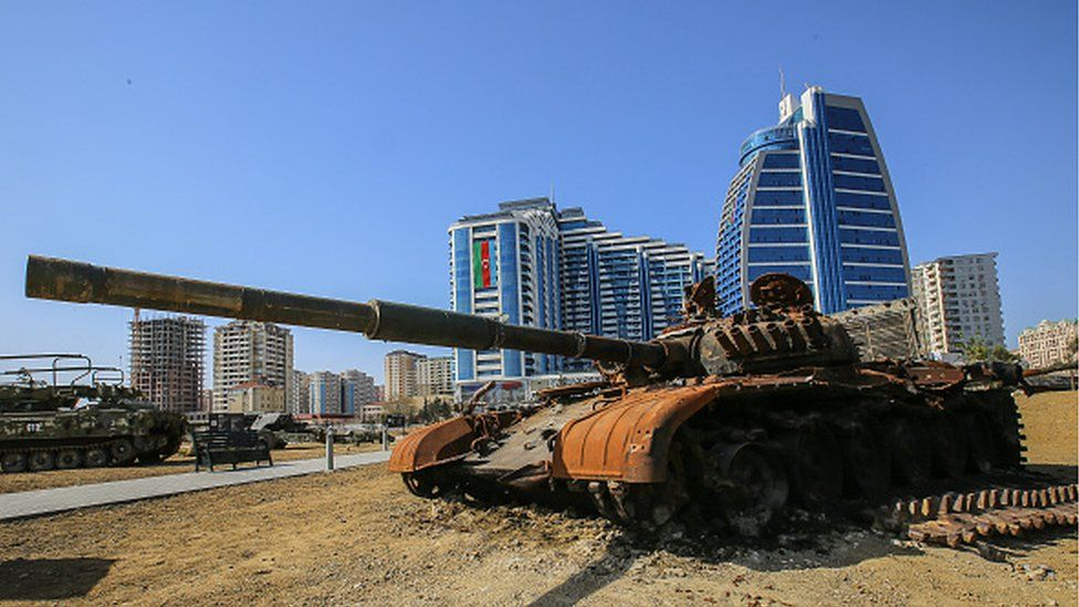 An Armenian tank on view at the Spoils of War open-air museum, containing weapons and armored vehicles captured from the Armenian army