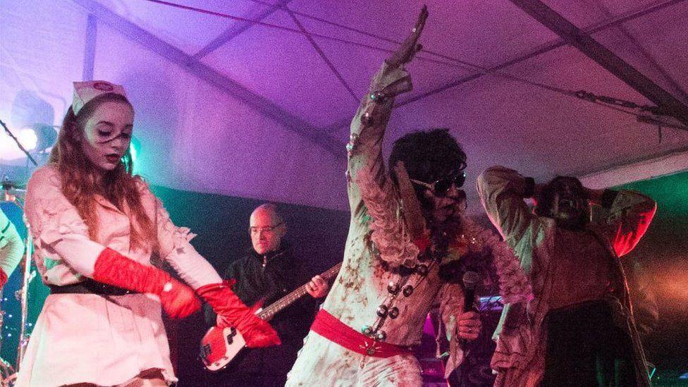 Simon Goldsmith as a zombie Elvis