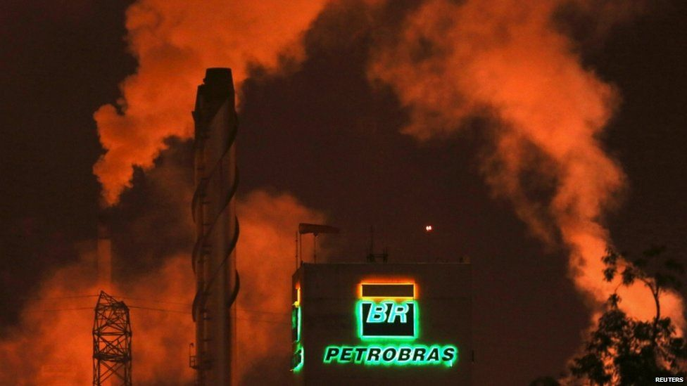 The Petrobras logo is seen in a refinery in Cubatao near Sao Paulo in this February 24, 2015 file photo.