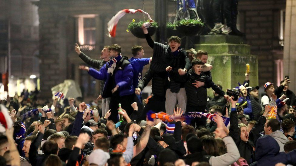 Rangers fans in George Square