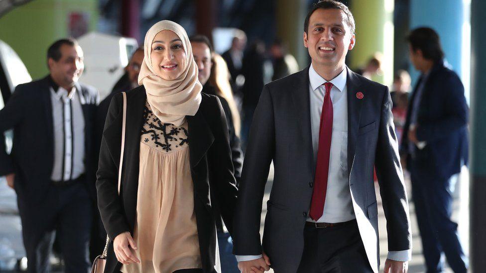 Anas Sarwar arrives with his wife Furheen in 2017