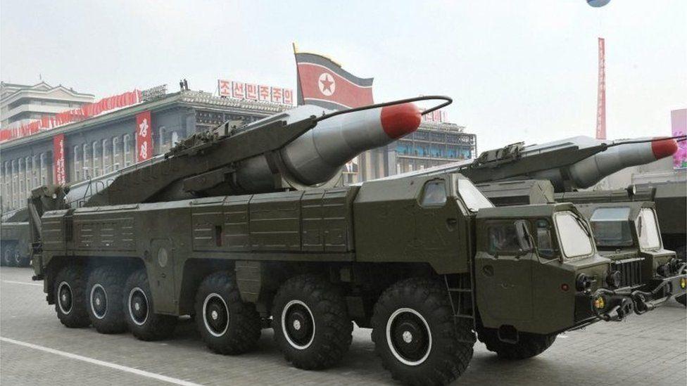A Musudan missile on display in a North Korean parade (2010)