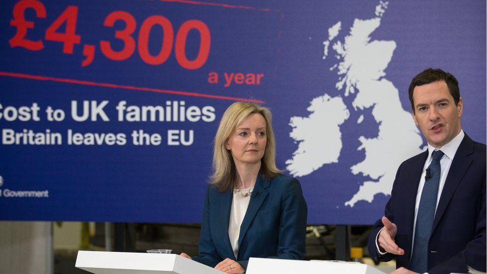 George Osborne speaking alongside then fellow Tory frontbencher Liz Truss