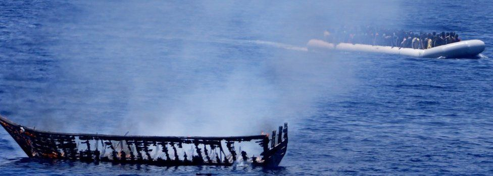 A boat is burned in the Mediterranean