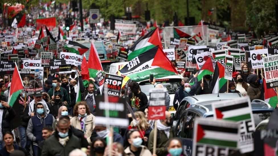 Protesters march in London in support of Palestinians amid ongoing violence with Israel