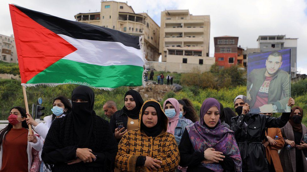 Israeli Arabs protest against what they say is a wave of violence against their community and police inaction, in the Israeli town of Umm al-Fahm, Israel (12 March 2021)